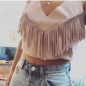 Guess suede fringe top. size small.